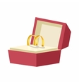 Wedding rings in a red box icon cartoon style vector image vector image