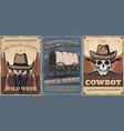 wild west cowboy skull hats guns and wagon cart vector image vector image
