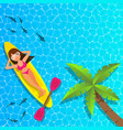woman relaxing and enjoying on cannu boat at the vector image vector image