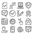 approve and check icons set on white background vector image