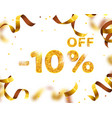 banner 10 off with share discount percentage gold vector image vector image