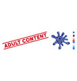 blot mosaic and distress adult content stamp vector image vector image