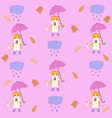 bright cute autumnal pattern with cat cloud vector image vector image