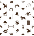brown simple horse theme icons seamless pattern vector image vector image