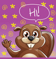 cartoon beaver hi vector image vector image