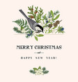 christmas card with a bird vector image vector image