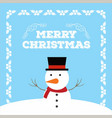 christmas card with frame and snow man vector image vector image