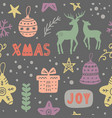 christmas decoration doodles seamless pattern vector image vector image