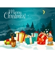 Christmas gift box with winter landscape poster vector image vector image