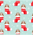 christmas pattern with sloth vector image vector image