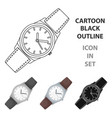 classic wrist watch icon in cartoon style isolated vector image vector image