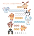 Crossword animals education game with words for vector image vector image