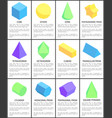 cube sphere cone octahedron cylinder figures set vector image vector image
