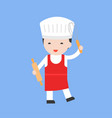 cute pastry chef with rolling pin flat design vector image vector image