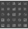 Data analysis white icons set vector image