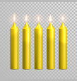 decorative candle yellow isolated set vector image