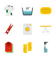 dry cleaning icons set flat style vector image vector image