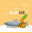 fish and chicken carrot nutrition healthy food vector image