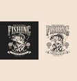fishing vintage monochrome print