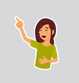 girl laughing sticker for messenger label icon vector image