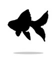 goldfish fish black silhouette aquatic animal vector image