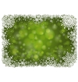 Green Christmas background with snowflakes vector image vector image