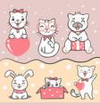 group cute kawaii cat rabbit and dog vector image vector image