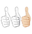 hands thumbs up outline gray and colorful- vector image