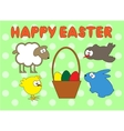 Happy Easter animal set on green peas background vector image vector image