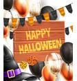 happy halloween poster witch hat broom vector image vector image