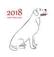 happy new year 2018 dog vector image vector image