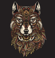 Highly detailed abstract wolf in colo vector image vector image