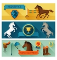 Horizontal banners with horse equipment in flat vector image vector image