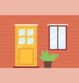 house facade entrance with door and window flat vector image vector image