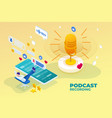 isometric podcast recording and digital sound wave vector image vector image