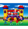 Kids bouncing on the playhouse vector image vector image