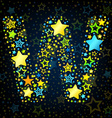 Letter W cartoon star colored vector image vector image