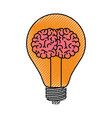 light bulb with brain inside in colored crayon vector image vector image