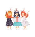 lovely little girls standing in party hats kids vector image vector image