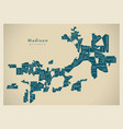 modern city map - madison wisconsin city of the vector image vector image