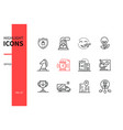office concept - line design style icons set vector image