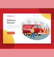 online delivery service landing page with van vector image vector image