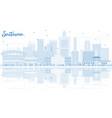 outline saitama japan city skyline with blue vector image vector image