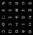 Personal data line icons on black background vector image vector image