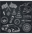 Racing auto items sketch icons vector image