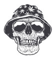 rasta skull in hat and sunglasses vector image vector image