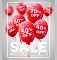 red baloons discount frame sale concept for shop vector image