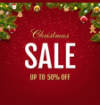 sale christmas card with christmas toys vector image vector image