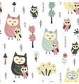 seamless pattern with cute owls - mother and baby vector image