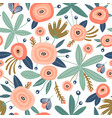 seamless pattern with flowerspalm branch leaves vector image vector image